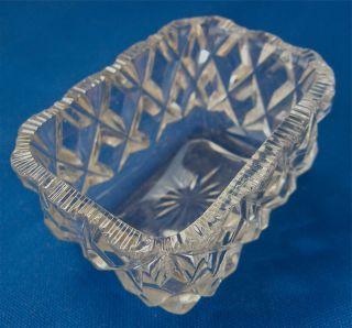 Victorian Glass Salt Oblong Shape Diamond Facets Starburst Bottom photo