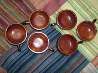 Vintage Lester Clarke - 6 Coffee / Tea Cups - Hand Carved Wooden Cups photo