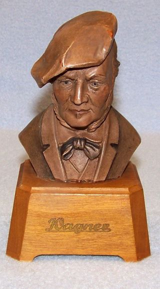 Vintage Bust Of Wagner - - 5.  25 Inches - - Wood & Toriart photo