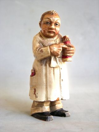 5 In.  Antique Anri Wood Carved Figure Pharmacist/doctor? photo