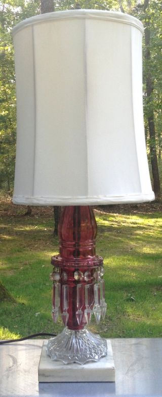 Antique Ruby Colored Glass Prism Lamp W Silk Shade photo