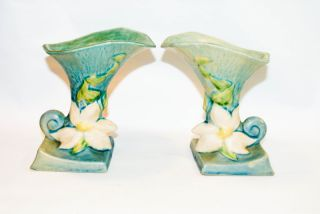 Vintage Roseville Pottery Flower Vase Set photo