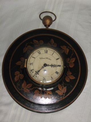 Large Vintage Warren Kessler Tin Tole Wall Clock Wind Up 17
