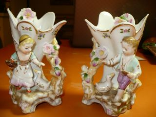 Antique Chipped Camille Naudot ? Porcelain Vases Boy & Girl Flowers Ducks photo
