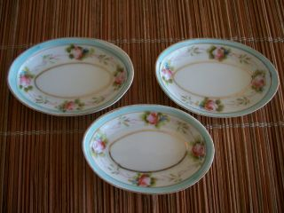 3 Antique Nippon Butter Pats Open Salts Nut Dishes Hand Painted Pink Rose photo