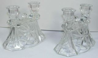 Pair Of Double Cut Glass Candle Holders Mint photo