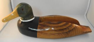 Carved Wood Mallard Duck Green Head Male Vintage Hand Painted Holder Planter Art photo