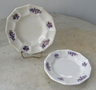 2 Cup Plates 12 Sided Copper And Lavender Lusterware English 1800 ' S photo