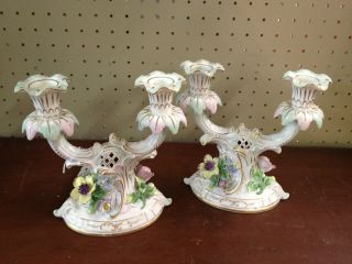 Antique German Porcelain Dresden Candle Holder Candlesticks With Flowwers All photo