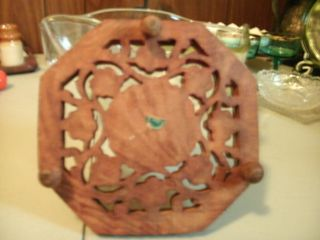 Hand Wood Carved Pot Holder With Flower Design photo