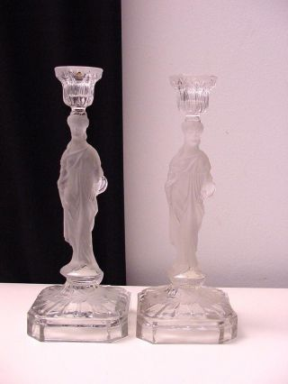 Couple Of Frosted Glass Candle Sticks,  Roman Or Greek Ladies W/ Palette photo