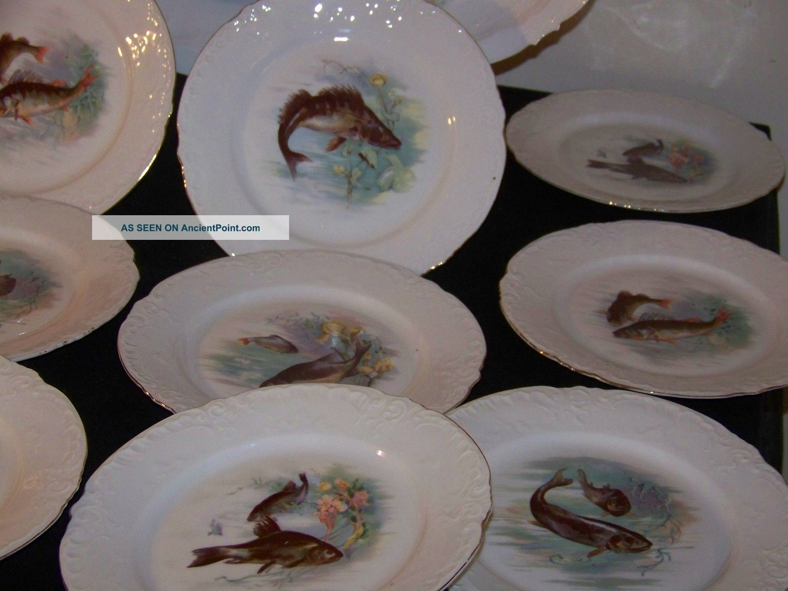 Antique Victoria Carlsbad Austria Complete Porcelain Fish Plates \u0026 Platter Set & Antique Victoria Carlsbad Austria Complete Porcelain Fish Plates ...
