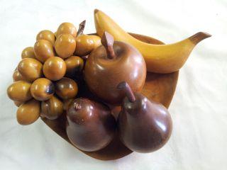 Vintage Retro Wooden Fruit Teak (?) With Basswood Bowl Unique photo