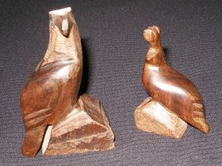 Vintage Iron Wood Miniature Figurine Bald Eagle California Quail Baja Calif Pair photo