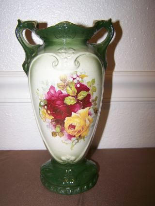Antique Porcelain Painted Roses 2 Handled Vase 800 photo