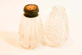 Vintage 1800 S Sterling Mother Pearl Cut Glass S&p Shakers photo