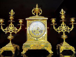 Japy Great French Bronze Neo Renaissance Boudoir Clock Set C.  1880 photo