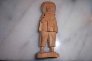 Vintage Wood - Hand Carved Figurine Man With A Fiddle / Folk Art Cool Nr photo