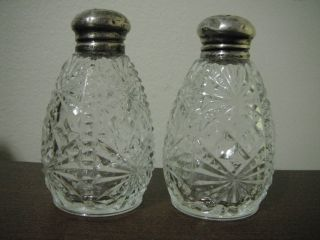 Vtg Antique Pressed Glass Salt & Pepper Shakers Marked Sterling Caps Made In Usa photo
