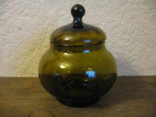 Vintage Green Art Glass Apothecary Jar Compote W/ Lid Dish photo