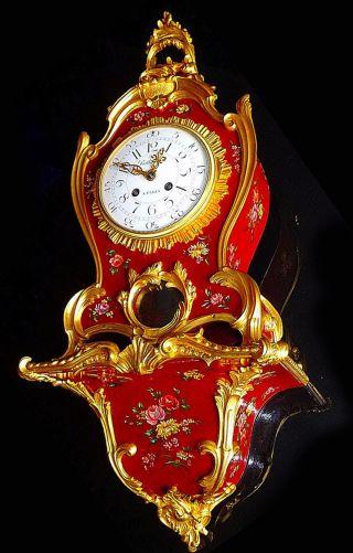 Unique Vernis Martin Lacquer Red Boulle Gilt Bronze Clock W.  Console C.  1860 photo