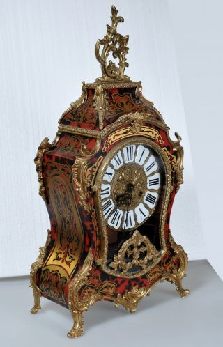 Antique French Rococo Boulle Clock 2 Bells Bronze & Faux Shell Fine Recent Copy photo