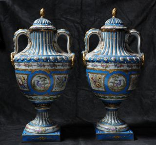 Pair Of Rich Antique Celestial Blue Sevres Porcelain Urns Lidded Vases C.  1860 photo