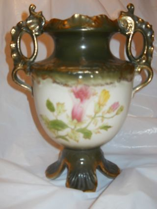 Vintage Handpainted Gilded Floral Vase photo