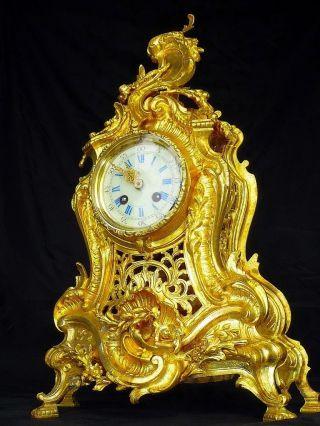 Unique Antique Bronze Boudoir Clock Japy Et Cie C.  1890 photo
