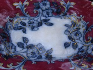 19th C Ironstone Worcester Porcelain Polychrome Flow Blue Antique Compote Bowl photo