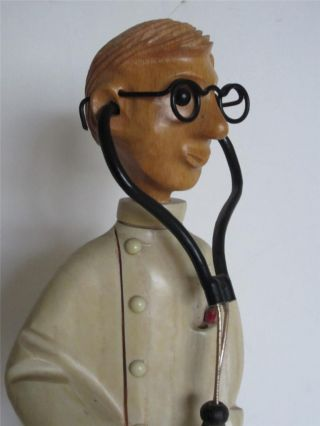 Vintage Romer Princely Doctor General Practictioner Carved Wood Figurine Italy photo