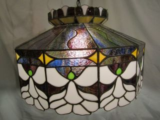 Mint Tiffany Style Leaded Glass Lamp -