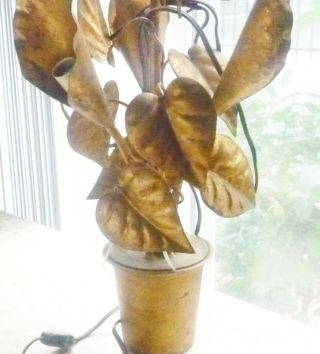Vtg Hollywood Regency Lamp Metal Metalware Gold Leaves Lillies 20 - 1/2