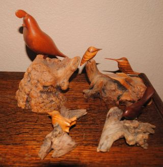 Bill Neely Hand Carved Wooden Birds photo