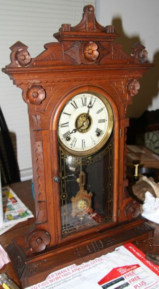 Walnut Welch Spring Shelf Clock photo