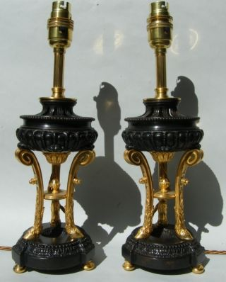 Pair French Ormolu - Bronze Table Lamps Mid 19th Ct. photo