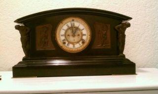 Ansonia Art Noveau Bronze Statues Ca.  1890 Mantle Clock photo