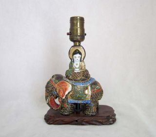 Moriage Japanese Vintage Buddha Elephant Lamp Wood Base Ca: 1930 ' S - 1940 ' S photo