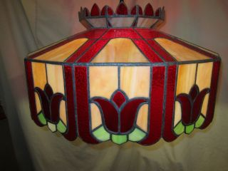 Antique Tiffany Style Slag Glass Lamp - Signed And Numbered photo