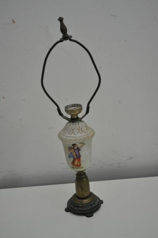 Vintage Antique Lamp Base Gold Brass Greek Roman Ceramic Decorative Part photo