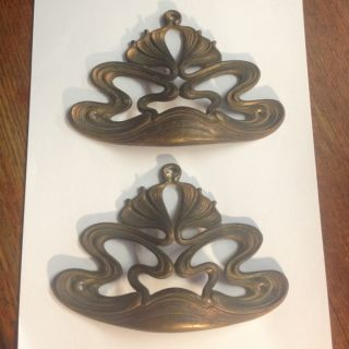 2 X Antique Art Nouveau Brass Pretty Furniture Handles Rare C1900 Victorian Old photo