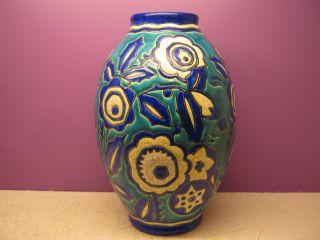 Boch Freres Keramis,  Catteau,  Art Deco Vase,  D1425,  1930,  10
