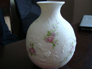 Kaiser Floral Monaco Pot Belly White Bisque Vase photo