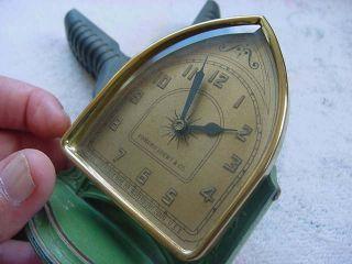 Vtg - Edmund Loewy & Co - Lux Clock Mfg _ Beveled Glass Shelf Clock _ Old & Runs photo