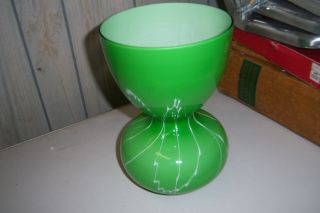 Green Vase With Whit Splaters On It 10 Inches Tall And Openings 6 In photo