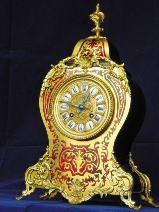 Japy Unique Antique Red Boulle Boudoir Mantel Clock C.  1880 photo