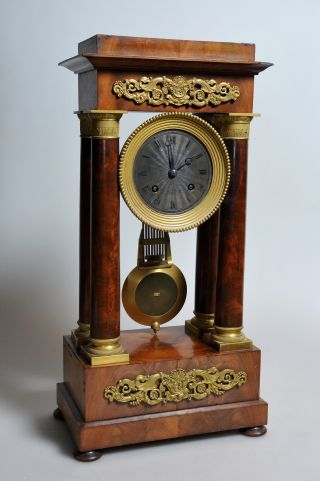 Antique French Empire Neoclassical Portico Clock Ormolu Bronze Mahogany C.  1840 photo