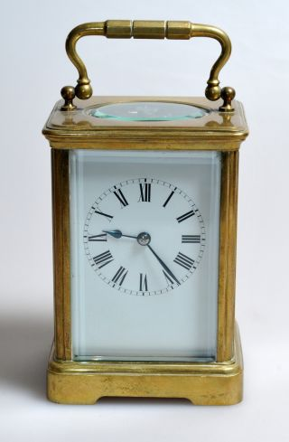 Antique French Timepiece Brass Personal Carriage Desktop Chamber Clock C.  1890 photo