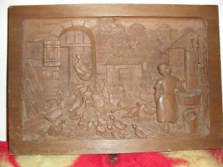 Wooden Relief Carving Farm Scene Signed August Louis Chapon photo