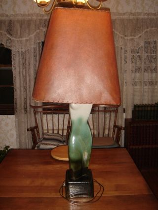 Ceramic Art Lamp Ca.  1950 With Parchment Shade photo